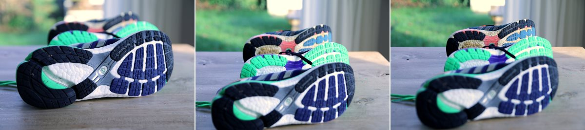 3 paar onderkantjes van de Adidas Adistar, Energy Boost en de eerste versie Boost